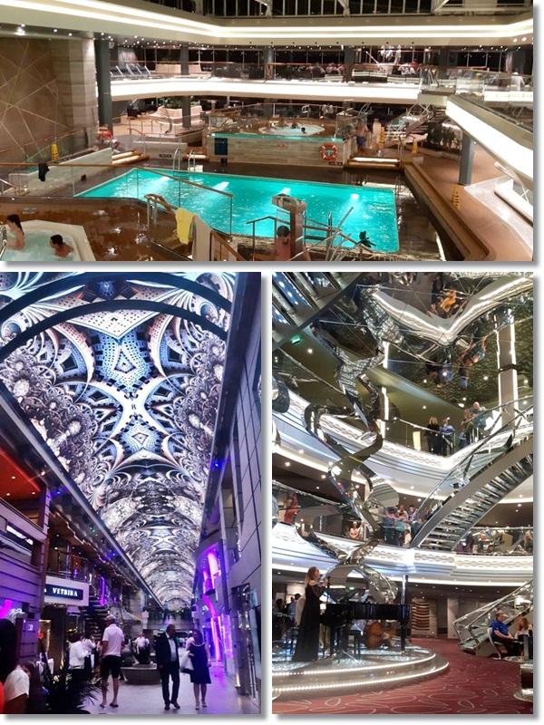 Piscina / Promenade (com o teto de LED) / Atrium